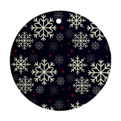 Snowflake Round Ornament (two Sides)  by Kathrinlegg