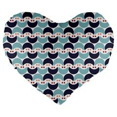 Moon Pattern Large 19  Premium Flano Heart Shape Cushions by Kathrinlegg