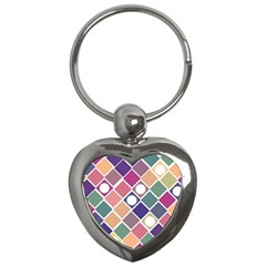 Dots And Squares Key Chains (heart)  by Kathrinlegg