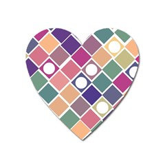 Dots And Squares Heart Magnet by Kathrinlegg