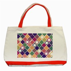 Dots And Squares Classic Tote Bag (red)  by Kathrinlegg