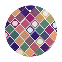 Dots And Squares Round Ornament (two Sides)  by Kathrinlegg