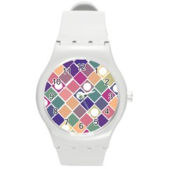 Dots And Squares Round Plastic Sport Watch (m) by Kathrinlegg