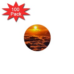 SUNSET OVER CLOUDS 1  Mini Buttons (100 pack)  by trendistuff
