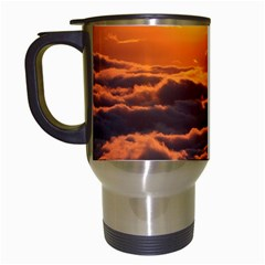 Sunset Over Clouds Travel Mugs (white) by trendistuff