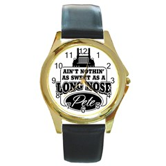 Pete Round Leather Watch (gold Rim)  by teambridelasvegas