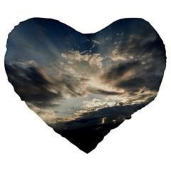 Heaven Rays Large 19  Premium Flano Heart Shape Cushions by trendistuff
