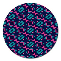 Pink and blue shapes pattern Magnet 5  (Round) by LalyLauraFLM