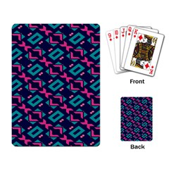 Pink And Blue Shapes Pattern Playing Cards Single Design by LalyLauraFLM