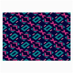 Pink and blue shapes pattern Large Glasses Cloth by LalyLauraFLM