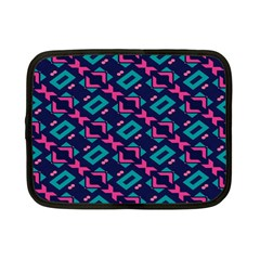 Pink And Blue Shapes Pattern Netbook Case (small) by LalyLauraFLM