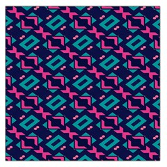 Pink And Blue Shapes Pattern Satin Scarf by LalyLauraFLM
