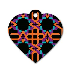 Juxtaposed Shapes Dog Tag Heart (two Sides) by LalyLauraFLM