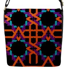 Juxtaposed Shapes Flap Closure Messenger Bag (s) by LalyLauraFLM