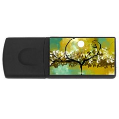 She Open s To The Moon Usb Flash Drive Rectangular (4 Gb)  by theunrulyartist