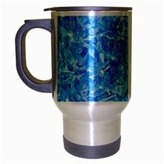 Blue Ice Crystals Travel Mug (silver Gray) by trendistuff