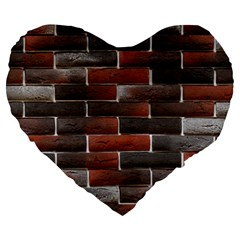 Red And Black Brick Wall Large 19  Premium Heart Shape Cushions by trendistuff