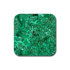 Marble Green Rubber Square Coaster (4 Pack)  by trendistuff