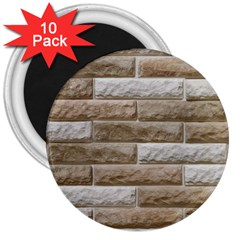 Light Brick Wall 3  Magnets (10 Pack)  by trendistuff