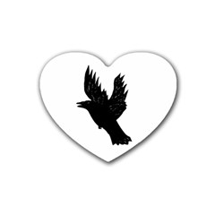 Crow Rubber Coaster (heart)  by JDDesigns