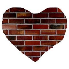 Colorful Brick Wall Large 19  Premium Flano Heart Shape Cushions by trendistuff