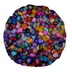COLORED PEBBLES Large 18  Premium Flano Round Cushions by trendistuff