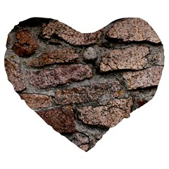 Cemented Rocks Large 19  Premium Flano Heart Shape Cushions by trendistuff