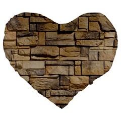 Block Wall 1 Large 19  Premium Flano Heart Shape Cushions by trendistuff