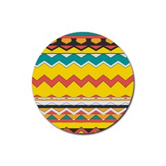 Zig Zag Rubber Round Coaster (4 Pack) by LalyLauraFLM