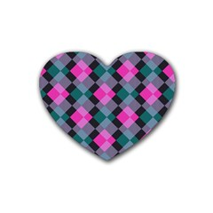 Argyle Variation Rubber Coaster (heart) by LalyLauraFLM
