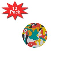 Cubist Art 1  Mini Button (10 Pack)  by LalyLauraFLM