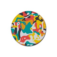 Cubist art Rubber Round Coaster (4 pack) by LalyLauraFLM