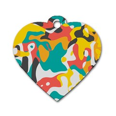 Cubist Art Dog Tag Heart (one Side) by LalyLauraFLM