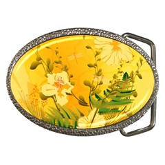 Wonderful Soft Yellow Flowers With Dragonflies Belt Buckles by FantasyWorld7