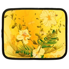 Wonderful Soft Yellow Flowers With Dragonflies Netbook Case (large) by FantasyWorld7