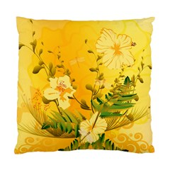 Wonderful Soft Yellow Flowers With Dragonflies Standard Cushion Case (One Side)  by FantasyWorld7