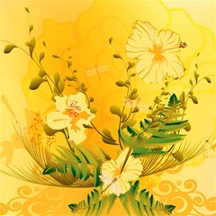 Wonderful Soft Yellow Flowers With Dragonflies Magic Photo Cubes by FantasyWorld7