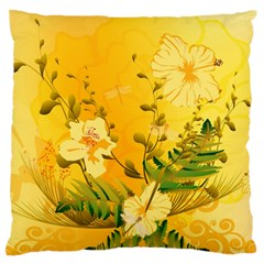 Wonderful Soft Yellow Flowers With Dragonflies Large Flano Cushion Cases (One Side)  by FantasyWorld7