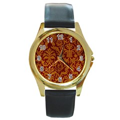 Royal Red And Gold Round Gold Metal Watches by trendistuff