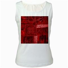 Red Patchwork Women s Tank Tops by trendistuff
