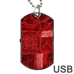 RED PATCHWORK Dog Tag USB Flash (Two Sides)  by trendistuff