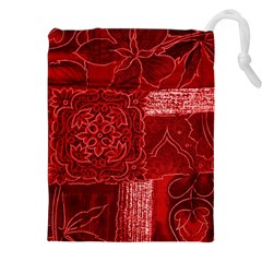 RED PATCHWORK Drawstring Pouches (XXL) by trendistuff