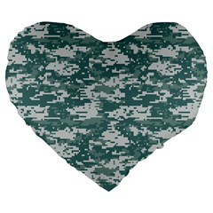 CAMO DIGITAL URBAN Large 19  Premium Flano Heart Shape Cushions by trendistuff