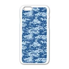 Camo Digital Navy Apple Iphone 6/6s White Enamel Case by trendistuff