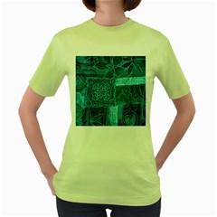 Blue Patchwork Women s Green T Shirt by trendistuff