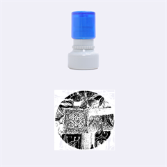 BLUE PATCHWORK Rubber Round Stamps (Small) by trendistuff
