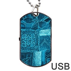 Blue Patchwork Dog Tag Usb Flash (two Sides)  by trendistuff