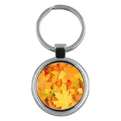 Yellow Maple Leaves Key Chains (round)  by trendistuff