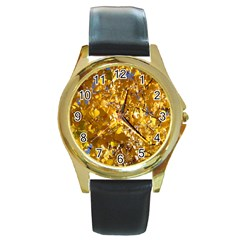 Yellow Leaves Round Gold Metal Watches by trendistuff