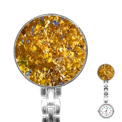Yellow Leaves Stainless Steel Nurses Watches by trendistuff